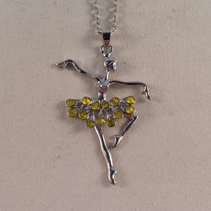 Silver Crystal Ballerina Ballet Dancer Necklace